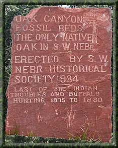 Oak Canyon Plaque marking establishment of Nebraska Historical Society